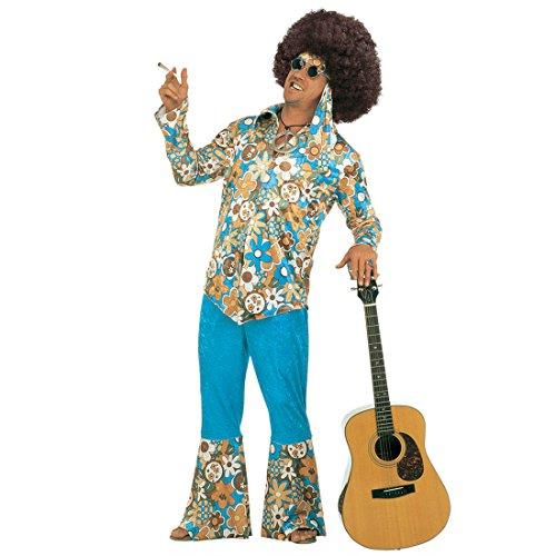 70er Jahre Herrenkostüm Hippie Kostüm Mann Samt XL (54) Flower Power Hippiekostüm Fasching Blumenkostüm Faschingskostüm Blumen Karnevalskostüm Retro Mottoparty Verkleidung Karneval Kostüme Männer