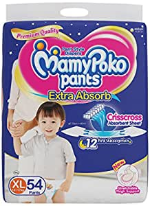 Mamypoko Pants Extra Absorb Diaper, X-Large (Pack of 54)