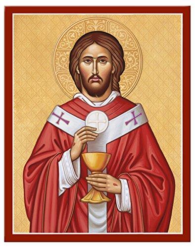 Monastery Icons Kloster Ikonen Jesus Christus der Hohepriester montiert Plaque Icon Reproduktion 7.8