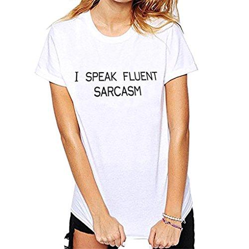 Chemise Femme,Manadlian Tuniques Femmes Manches Courtes O Neck Lettre Imprimer Tops T-Shirt Blouse Blanc