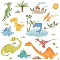 Idea Regalo - Decowall DW-1505 Dinosauri Adesivi da Parete Decorazioni Parete Stickers Murali Soggiorno Asilo Nido Camera da Letto per Bambini