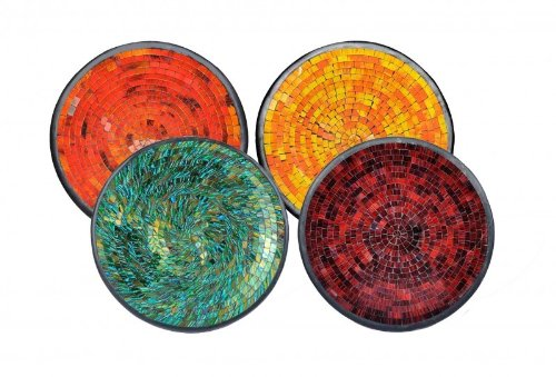 Woru Glas-Mosaik-Schale mit hintermalten Glassteinen belegt - Dekoschale 29 cm, Farbe:blau/grün -
