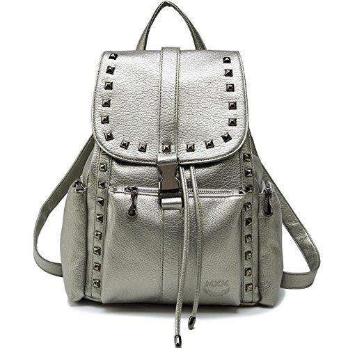 Mode Schwarz Rucksack Frau Tasche Damen PU Leder (L017-Silber) (Silber Leder Hardware)