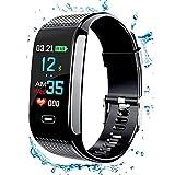 MA SOSER Smart Armband Herzfrequenz Blutdruck EKG Überwachung wasserdichte Sport Schritt Apple Andrews Universal Multifunktionale Männer und Frauen Smartwatch (Farbe : Schwarz)