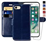 MONASAY iPhone 6 Wallet Case/iPhone 6s Wallet Case,4.7-inch, [Glass Screen Protector Included] Flip