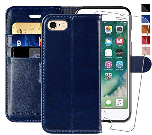 MONASAY iPhone 7 Handytasche/iPhone 8 Handyhülle,4.7 Zoll, [Gratis Panzerglas Schutzfolie] Handyfach Brieftasche Schutzhülle Tasche Flip klappbar Leder Hülle mit Kartenfach für Apple iPhone 7/8 (Frauen Case Wallet 4 Iphone)