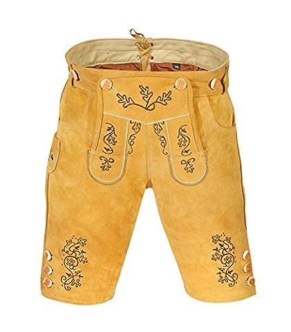 Edle Damen Trachten Lederhose aus feinem Rindsvelourleder, inklusive Hosenträger, Knielang, Gr.42