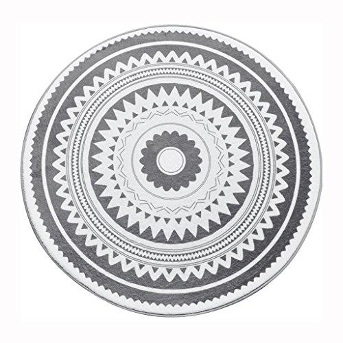 Simple tapis rond moquette table basse chambre salon tapis rond Flanelle Tapis noir blanc ( Size : 100cm )