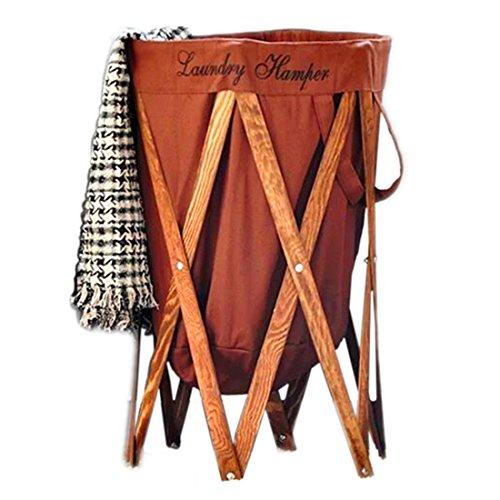 FLM Faltbare Wäschesammler Holz - Pop Up Wäschekorb Faltbar Für Ihre Schmutzwäsche Kleidung und Kid Spielzeug,Braun