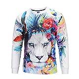 Oliviavan,Herren Lässige 3D Print Lion Hip Hop Langarm Pullover Sweatshirt Top Bluse Löwe Herren Pullover Basic V-Neck Sweater Slim Drucken Super Gemütlich Baumwolle