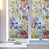 Price Xes 3D Blume statische Nicht klebende Milchglas-Fensterfolie, UV-Schutz, Sonnenschutz, Buntglas-Aufkleber, Sichtschutz, dekorative Fensterklammern 17 x 39 inch bunt