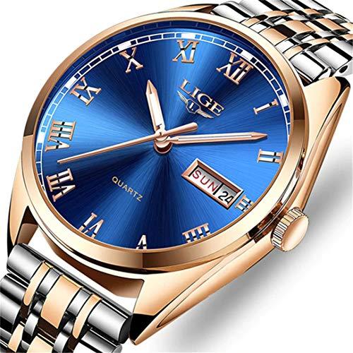 LIGE Uhr für Männer Mode Militärisch Sport Quarzuhr Edelstahl Wasserdicht 30 Meter Kalenderdatum Deluxe Business Watch ...