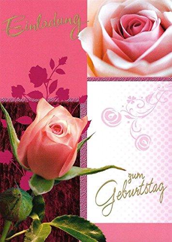 Einladungskarten Geburtstag Frau Mann Mädchen mit Innentext Motiv Rosa Rose 10 Klappkarten DIN A6 im Set mit weißen Umschlägen im Set Geburtstagskarten mit Kuvert Einladung Geburtstag Mann Frau K130
