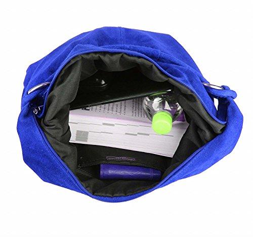 OBC Made in Italy Donna XXL Borsa in pelle Pelle Camoscio Borsa Shopper Borsa A Tracolla Hobo-Bag Borsa marsupio - Rosso (Pelle - 47x35x16 cm), in vielen Größen verfügbar blu reale