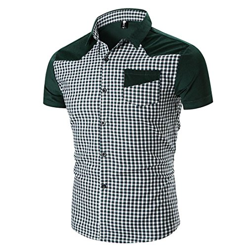 MEIbax CLEARANCE Persönlichkeit Männer Casual Schlank Kurzarm Kariertes Hemd Top Bluse (Grün, L)
