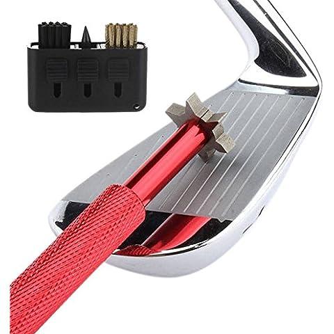 Golf Club Groove Sharpener. Golf Club Pulizia e club riparazione. Golf Accessori Migliora Backspin e controllo di palla su tutti i tuoi cunei e ferri., Red Brush
