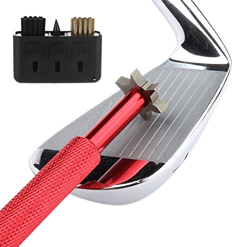 Golf Club Groove Sharpener - Golf club cleaner and club repair. Golf accessory improves backspin & ball control on all wedges and irons - perfect Father's Day Gift. (Red Brush)