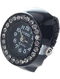 Bestlymood Reloj Anillo Banda Elastica Negra Caja de Diamantes para Mujeres