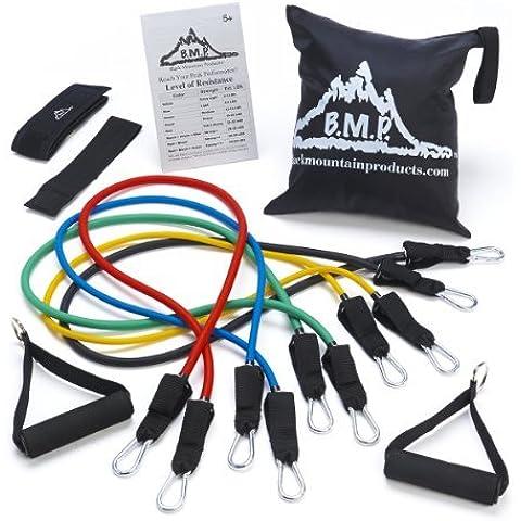 Montaña negra productos banda de resistencia con anclaje de puerta, correa de tobillo, tabla de ejercicios, y banda de resistencia estuche Sport, Fitness, entrenamiento, salud, ejercicio