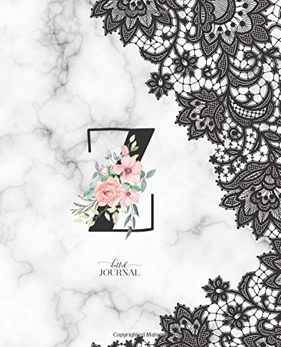 """Dotted Journal: Dotted Grid Bullet Notebook Journal Marble Black Lace Monogram Letter Z with Pink Flowers (7.5"""" x 9.25"""") for Women Teens Girls and Kids por Cute Little Journals"""