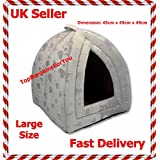 Large Size Luxury Pet Igloo Dog Cat Soft Comfy House Bed Igloo (GREY)