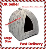 Large Size Luxury Pet Igloo Dog Cat Soft Comfy House Bed Igloo (GREY)