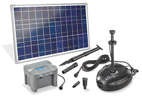 Solar Teichpumpenset Roma LED 35W Solarmodul mit Akku Solarpumpe Gartenteichpumpe Teich 101726