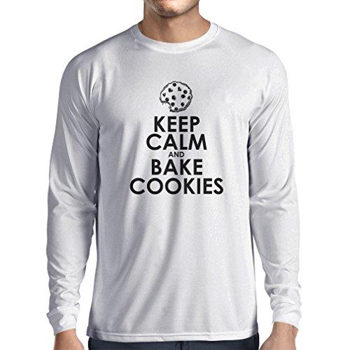 """T-shirt à manches longues Vêtements de cuisine, """"faire cuire des biscuits"""" cadeau cuisine (XXX-Large Blanc Multicolore)"""