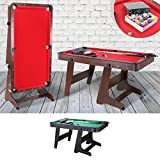 Billardtisch klappbar 5 Fuß FT Billard Tisch Pool Table Rollen 153x83cm Snookertable mit Rollen Multifunktionstisch (Korpus Braun, Tuchfarbe Rot)