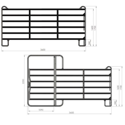 Kerbl Panel - Zaunelement 3,6 m mit Schnell-Kettenverschluss