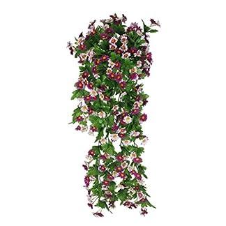 Vid de Flor Margarita Artificial Colgante Decoración para Boda Hogar – Blanca Púrpura