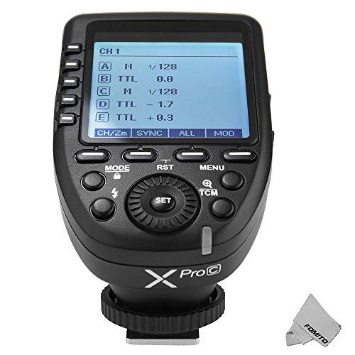 Godox Xpro-C TTL Kabelloser Blitzauslöser Bulit-in 2.4G X System 1 / 8000s HSS für Canon Kamera, TTL-Convert-Manuelle Funktion, Großbild-Schräg-Design -