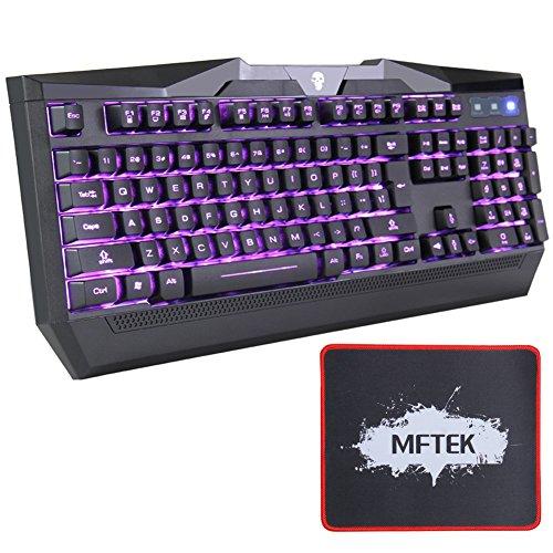 MFTEK USB LED retroilluminato illuminato luminoso 3 Colore Rosso Blu Viola design regolabile Gaming Tastiera Laptop Gamers desktop Lavorare con Mouse Pad (13 Inch* 9 Inch)