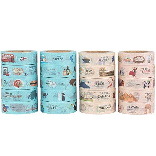 Dekorative Washi Tape Set Japanisches Papier Abdeckband 20 Rollen perfekt für Scrapbooking, DIY Handwerk, Geschenkpapier und Mood Design - 10m x 15mm