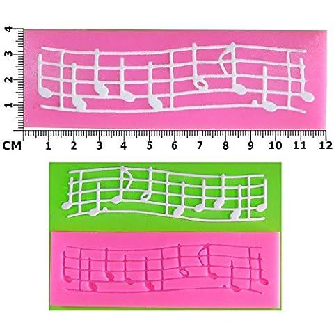 Notes de musique sur le personnel gaufrage Moule Dentelle en Silicone pour décoration de gâteau/Cupcake Toppers Décoration de gâteaux glaçage pâte à sucre Par les fées Blessings outil