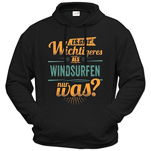 getshirts - RAHMENLOS® Geschenke - Hoodie - Sportart Windsurfen - es gibt wichtigeres als - petrol - schwarz XL