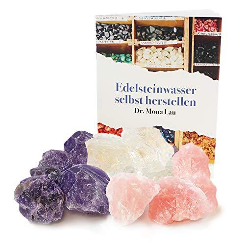 Edelsteine zur Herstellung von Edelsteinwasser plus Booklet, Jutebeutel und Holzkiste I Set aus Rohsteinen Rosenquarz, Amethyst und Bergkristall I 100% Natürliche Heilsteine