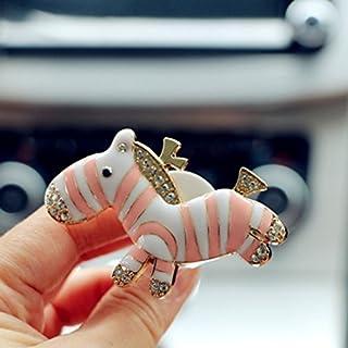 Kingus Lufterfrischer mit Clip, niedliches Zebra-Design, tragbar, für ätherisches Öl, mit Clip, Auto-Zubehör, rosa
