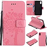 COZY HUT Custodia iPhone X, Cover iPhone X in Pelle con Interno TPU Antiurto, Supporto Stand, Carta Fessura e Protettiva Cover per iPhone X - Rosa