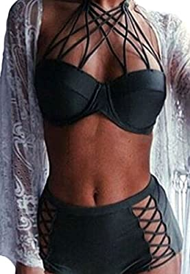 Mujer Sandalia con Push-up de Cintura Alta de Baño Bikini