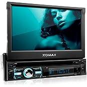 XOMAX XM-DTSB925 Autoradio / Moniceiver + Bluetooth Freisprecheinrichtung & Musikwiedergabe + 18cm / 7  HD Touchscreen Display + Audio & Video: MP3 inkl ID3 TAG, WMA, MPEG4, AVI, DIVX etc. + Beleuchtugsfarbe frei einstellbar + Codefree DVD / CD Pl