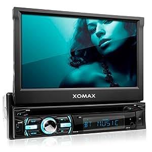 """XOMAX XM-DTSB925 Autoradio / Moniceiver avec 18 cm (7"""") écran tactile + Bluetooth kit mains libres + code libre Lecteur DVD Lecteur CD + carte SD, connexion USB + mp3, WMA, MPEG4, AVI + Simple DIN (DIN 1) Lecteur multimédia + RGB couleurs d'éclairage + avec télécommande"""