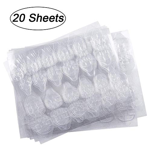 20 Blatt (480 Stück) Doppelseitiger Nagelkleber-Aufkleber, Kalolary Nagelkleber Jelly Gel Tape Adhesive Tabs Nagelkleber Transparent Flexible Adhesive Fake Nails Tips für die Maniküre