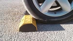RWS-223N Butée de roues en caoutchouc pour parkings publics, commerciaux et parkings privés, couleur noire-jaune, dimensions 50x16x8 cm