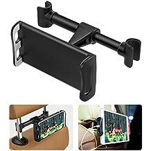 """Moko reposacabezas teléfono / Tablet Car Mount, 360 grados giratoria ajustable del asiento de coche cuna soporte para iPad pro 10.5/9.7/air/mini, iPhone X / 8 Plus / 7 / 6S, Galaxy Note 8 / S8 + / S8 (caben 4 - 11 """"dispositivos)negro"""