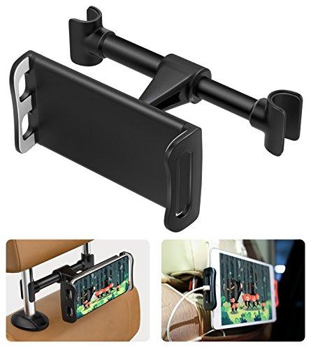 """MoKo Kopfstützenhalterung für Tablet/Handy, 360 Grad drehbare verstellbare KFZ Autositz Handyhalter Tablet Halterung für iPad Pro 10.5 / 9.7 / Air / Mini, iPhone X / 8 Plus / 7 / 6s, Galaxy Note 8 / S8 + / S8 (Fit 4-11 """" Geräte) - Schwarz"""