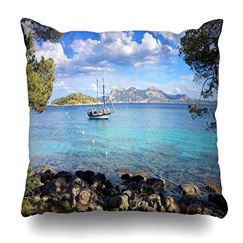 Pakaku - Funda Decorativa para sofá o Cama, 45,72 x 45,72 cm, Funda de Almohada para sofá o Cama, diseño Tropical, Color Azul