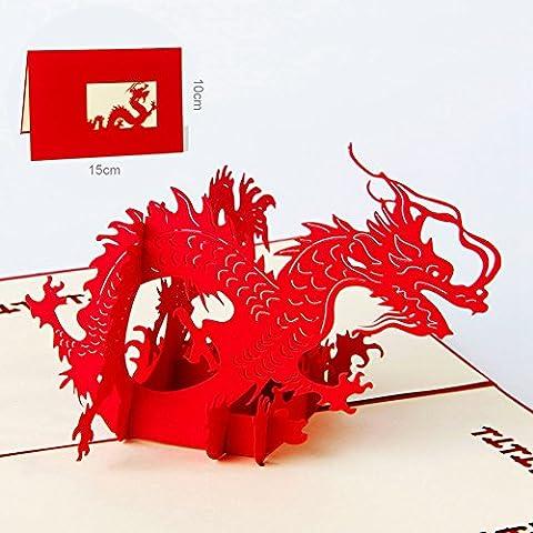 Papier Spiritz Premuim Pop Up Carte de vœux 3d Dragon Origami Paper Craft Cadeau fait à la main Cartes Postales pour découpé au laser pour la fête anniversaire de mariage anniversaire