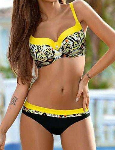 KLDDZQ da bagno donna Da donna A fascia Bikini Fantasia floreale Con stampe yellow