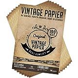 100 Stück DIN A4 Vintage Briefpapier 100g/qm mit 10 Blatt Kraftpapier - Altes Bastelpapier für Urkunden Schatzkarten Bastel Karten, Hochzeit, Geschenke, Nostalgie, Geburtstag, Scrapbooking Motivpapier